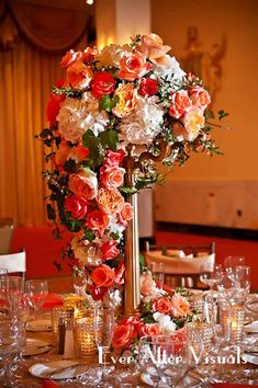tall centerpiece with fall colors