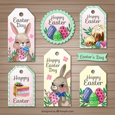 Set of six watercolor labels for easter day Free Vector
