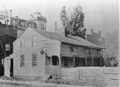 Built in 1821 by George Moore (a former county commissioner, county treasurer and state assemblyman), this home was located on the corner of South Park Row and French Street, it was demolished in 1897 to make room for the former Erie County Public Library Building.