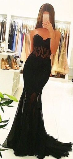Black Prom Dresses,Sweetheart Prom Dress,Mermaid Prom Dress,Sexy Prom Dress,Lace Party Dress,Long Evening Dress,Prom Dress,Black Evening Dresses