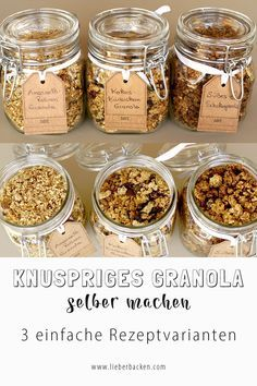 Make granola yourself? No problem. The delicious muesli with the favorite ingredients can be made very easily! 3 recipe variants are available. Knuspriges Granola selber machen & zum Frühstück oder als Dessert genießen Low Carb Granola, Crunchy Granola, Vegan Granola, Vegan Keto, Dieta Vegan, Muesli, Superfood, Fun Desserts, Healthy Recipes