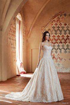 eddy k couture 2017 bridal strapless scallop sweetheart neckline full embellishment princess romantic lace a  line wedding dress chapel train (ct171) mv