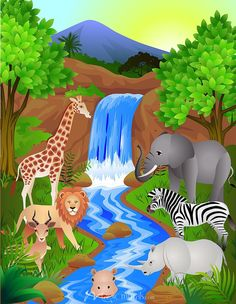 Safari Landscape, 1 of the of wallpaper wall murals at Magic Murals. Buy your wall mural in exactly the size & material that best suits your project. Nursery Wall Murals, Kids Wall Murals, Murals For Kids, Art Drawings For Kids, Drawing For Kids, Classroom Wall Decor, School Murals, School Painting, Safari Theme