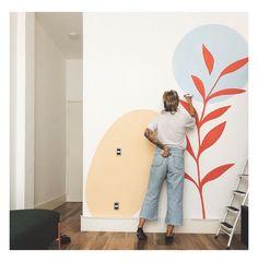 Wall Painting Decor, Wall Decor, Creative Wall Painting, Simple Wall Paintings, Mural Art, Wall Art, Kids Wall Murals, Bedroom Murals, Bathroom Mural