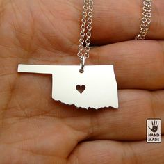 I Heart OKLAHOMA  Solid Sterling Silver Necklace  by StefanoArt, $45.00