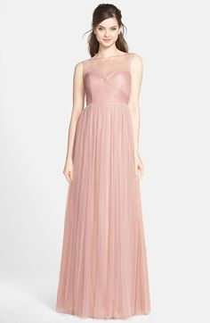 Free shipping and returns on Jenny Yoo 'Aria' Illusion Yoke Pleated Tulle Gown at Nordstrom.com. This timeless gown is soft and romantic in ethereal pleated tulle that's left sheer at the yoke and back straps for an utterly elegant effect. The crisscrossed bodice and floor-length A-line skirt create a slimming silhouette that flatters almost every figure.