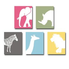 animal prints for baby/kids room - you can choose your own background color- etsy