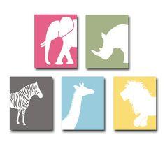 Jungle Animal Wall Art Prints Elephant, Zebra, Giraffe, Rhino, Lion Nursery Art Pick any 3. $42.00, via Etsy.