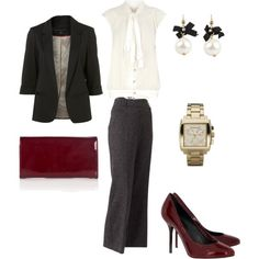 Basic outfit with deep red accessories