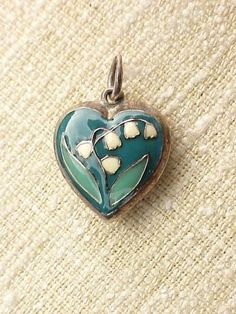 Vintage-Sterling-Silver-Puffy-Heart-Charm-3-Color-Enameled-LILY-OF-THE-VALLEY