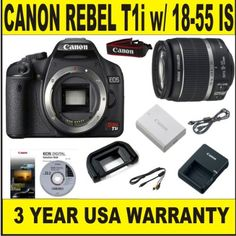 Canon Rebel T1i 15.1 MP Body (Supplied Manufacturer Accessories) w/ Canon 18-55 IS Lens   3 Year Warranty