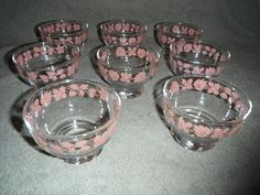 8 Vintage Pyrex Pink Gooseberry Dessert Bowls RARE | eBay