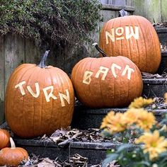 Easy+letters+carved+into+the+surface+of+the+pumpkins+will+cast+an+eerie+glow+on+your+steps+at+night.