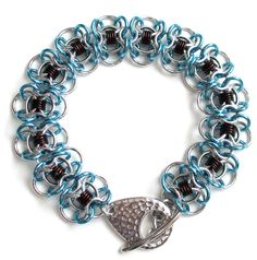 Bracelet, chainmail Coiled Butterflies, turquoise & brown. $30.00, via Etsy.