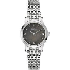 Bulova Ladies' Diamond-Accented Black Dial Watch, 96P148 ($200) ❤ liked on Polyvore featuring jewelry, watches, silver, stainless steel watches, diamond accent jewelry, bezel watches, stainless steel jewellery and bulova jewelry