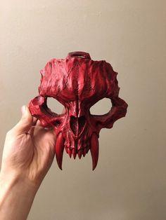 Cat Skull, Skull Mask, Red Mask, Half Mask, Masks Art, Mask Design, Wearable Art, Sculpting, 3d Printing