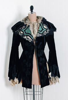 1880's Antique Vintage Opulent Midnight-Black Appliqued Silk-Velvet and French Chantilly-Lace Victorian Designer-Couture Wide Portrait-Collar Gothic Bell-Sleeves Fitted Royal-Princess Miltary Art-Nouveau Winter Wedding Cocktail Party Dress-Coat Jacket