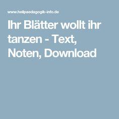 Ihr Blätter wollt ihr tanzen - Text, Noten, Download