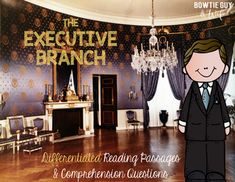 In this resource, there is a nonfiction reading passage based on the executive branch of United States government. It is differentiated for your high, mid, and lower level students as you discuss the roles of the local, state, and national executive branch, along with the office of mayor, governor, and president. 3 types of questions are included, along with an answer key. Branches Of Government, First Ladies, Executive Branch, Elements And Principles, Franklin Roosevelt, Reading Passages, Blue Rooms, Differentiation, Jackie Kennedy