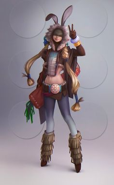 Rabbit-girl, Anna Maystrenko on ArtStation at https://www.artstation.com/artwork/girl-concept-32