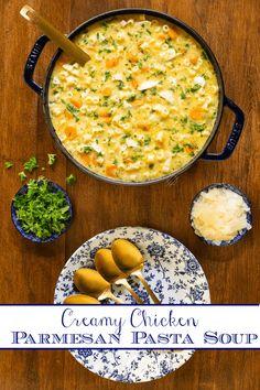 Creamy Chicken Parmesan Pasta Soup Parmesan Soup, Chicken Parmesan Pasta, Creamy Chicken, Healthy Chicken Soup, Soup Recipes, Cooking Recipes, Pasta Soup, Low Sodium Chicken Broth, Soups