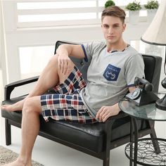 Men's Pajamas Spring Autumn Short Sleeve Sleepwear Cotton Plaid Cardigan Pajamas Men Lounge Pajama Sets Plus size L 3XL Sleep
