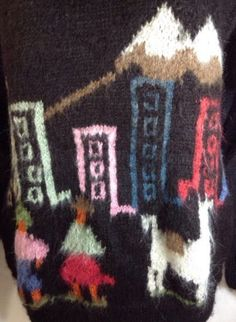 Alpaca Sweater Large Womens Henley 100% Alpaca Hair Handmade Bolivia Black Brown