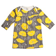 Rocking Horse Baby Dress - Poppies Yellow & Grey  www.winterweatherfactory.com