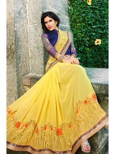 Glorious Lime Yellow Designer Saree