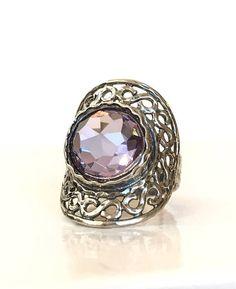 Lavender Quartz Sterling Silver Filigree Ring Purple Amethyst