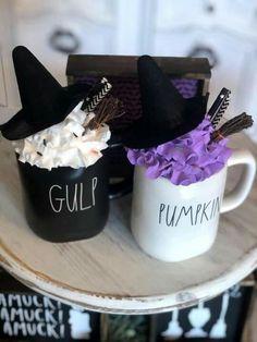 Purple Halloween, Halloween Mug, Halloween Ideas, Fake Cupcakes, Fake Cake, Diy Whipped Cream, Cream Mugs, Diy Mugs, Farmhouse Christmas Decor