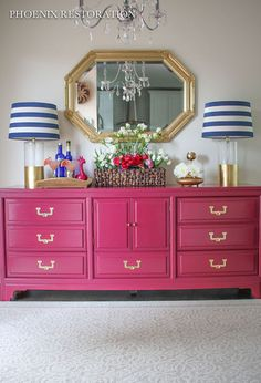 Hometalk :: American of Martinsville Campaign Credenza...FAB credenza upcycle!  The shocking pink is perfect!!!!!!!!!!
