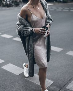 slip dress with oversized cardigan is the most amazing outfit i have ever seen
