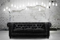 Zahara Black Leather Sofa