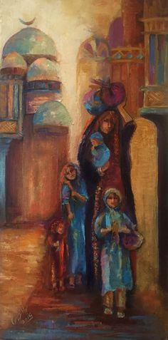 Art by Layla Nowras Arabesque, Palestine Art, Islamic Paintings, Painter Artist, Turkish Art, Silk Art, Arabic Art, Foto Art, Egyptian Art