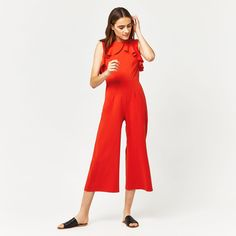 Warehouse, CREPE OPEN BACK FRILL JUMPSUIT Bright Red 1