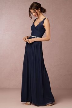Sheer Lace Strap Navy Tulle Skirt Bridesmaid Dress