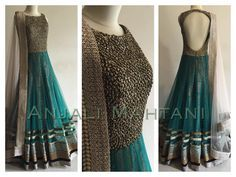 Beautiful Teal anarkali by Anjali Mahtani Indian Attire, Indian Wear, Pakistani Outfits, Indian Outfits, Desi Clothes, Indian Clothes, Anarkali Dress, Anarkali Suits, Party Wear Dresses