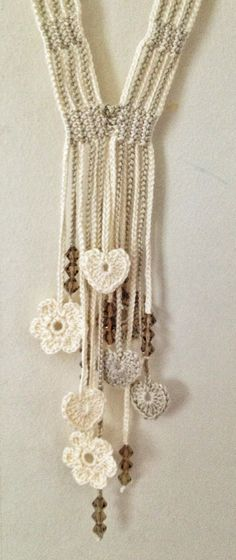 Cream hearts and flowers beaded crochet by GabyCrochetCrafts