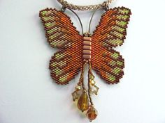 Tutorial Large Butterfly Peyote Pattern suitable for all levels. Make your own Butterfly pendant, Brooch or Pin using Delica beads