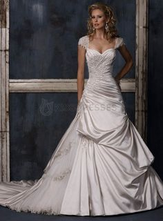 Cap-sleeve taffeta and tulle appliqued ruffle wedding dress Option #2