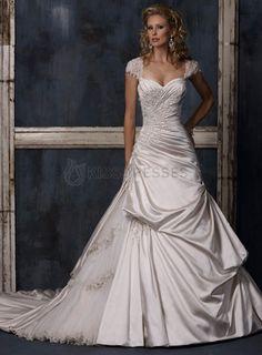 Cap-sleeve taffeta and tulle appliqued ruffle wedding dress Option #2