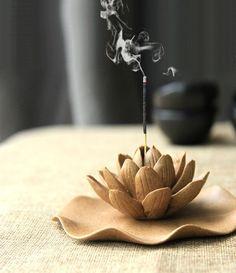 Winter Lotus : Ceramic Decoration ~ Incense Burner ~ Incense sticks or cones ~ forever flower