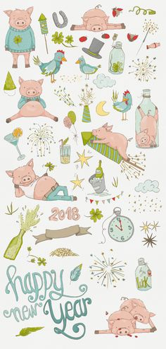 a happy new years graphic set with super cute pigs, celebrating a wonderful start in 2018! 30% off as always for the first week (5th - 12th nov)