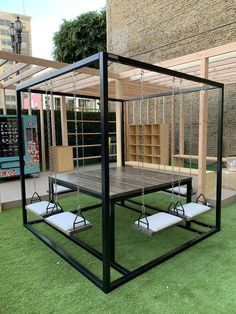 Tables 6 Seater Swing Table - Furniture Home Decor Welded Furniture, Industrial Design Furniture, Home Decor Furniture, Furniture Design, Upcycled Furniture, Furniture Ideas, Steel Furniture, Smart Furniture, Outdoor Metal Furniture