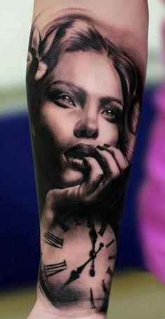 Woman Portrait with Clock. Tattoo Artist - Silvano Fiato