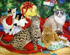Christmas Cats by Linda Picken