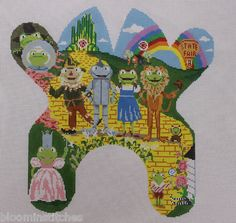 Edie & Ginger Wizard of Oz Frog M164 Hand Painted Needlepoint Canvas.I have never seen one of these in stores but I love Edie @ Ginger needlepoint