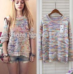 Plus size Sweet Gentlewomen Topshop Vintage Rainbow jumper knitted Autumn Mori Girl Sweater Pullovers Brand moletom feminino  $29.10