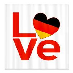 Red German LOVE Shower Curtain> Home, Office, Car, Gifts - German Red LOVE> Flags of Nations and Stuff